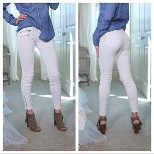 White zipper trim skinny jeans