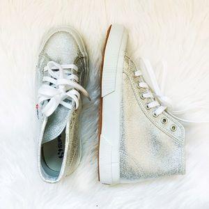 Superga Shoes - 🆕 Superga Silver High-Top Sneakers