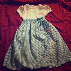 Youngland Other - Dress with Floral Detail and Blue Ribbon