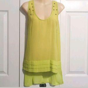 Bisou Bisou Tops - Bisou Bisou Neon Yellow Studded Chiffon Hi Low Top