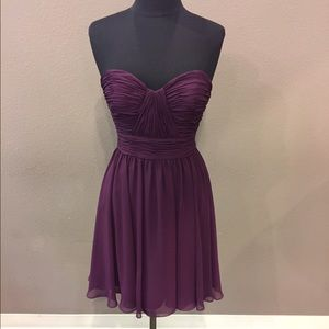 Strapless eggplant gown