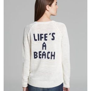"""360 Sweater Sweaters - 360 Sweater Navy """"Life's a beach"""" back graphic"""