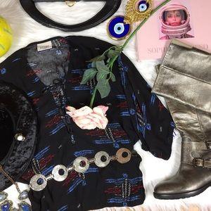 NWT Lucy Love Ethnic Gamchanger Boho Blouse Top XS
