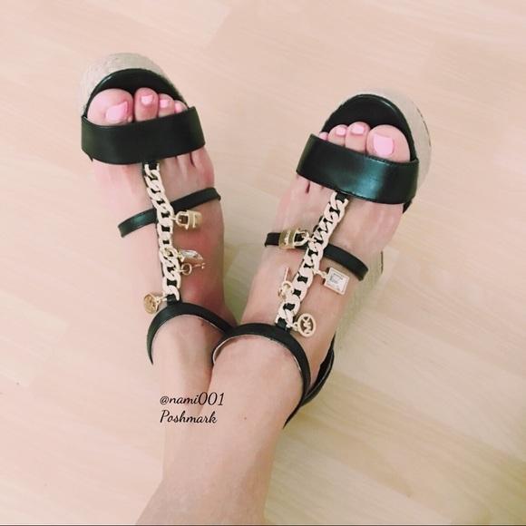 e6d70eee0a624 Michael Kors Suki Wedge Shoes Dangling Charms