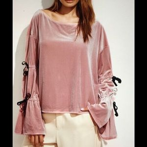 Tops - Pretty Velour Peasant Style Wide Lace Sleeves