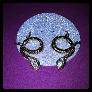 Thalia Sodi Jewelry - Thalia Sodi Gold Tone Rhinestone Snake Earrings