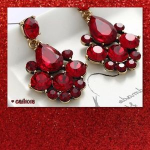 JUST IN Red Crystal Dangle Drop Earrings