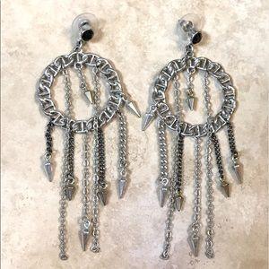 Silver dream catcher spike earrings