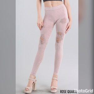 Pants - Vintage Modal Destroyed Leggings Rose