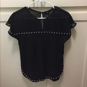 H&M Tops - Black sheer top with silver studs