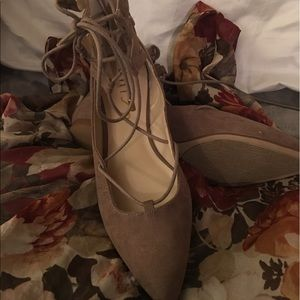 unisa Shoes - Never worn, suede flats. Lace front, zip back