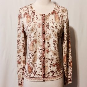Lucky Brand Sweaters - Lucky Brand Cream Wool Paisley Print Cardigan