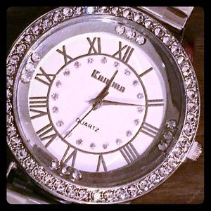Accessories - 💐LARGE SILVER TONED WATCH SURROUNDED BY DIAMONDS