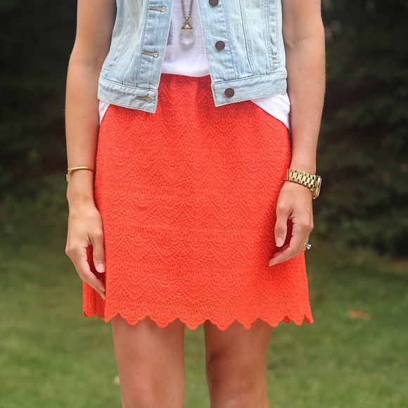 e106446efd J. Crew Dresses & Skirts - J. Crew orange Lace Skirt