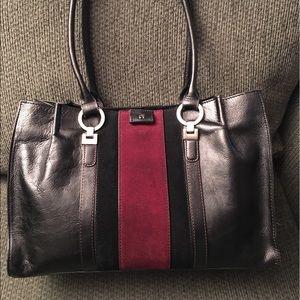 Etienne Aigner Handbags - Etienne Aigner Black/Cranberry Leather Suede Tote