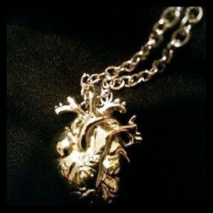 Jewelry - BAOI! NWOT Realistic  silver heart necklace!