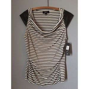Macy's NEW Black and Cream striped Studded Tank