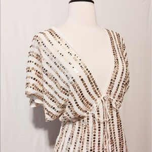 Soft Surroundings Tops - Cream Silk with Gold Sequins Flyaway Blouse