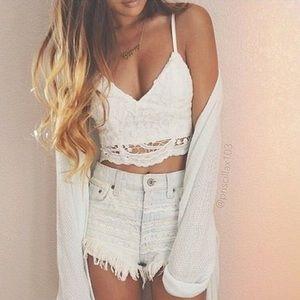 Tops - ▪NEW▪White Crochet Bralette Crop Top