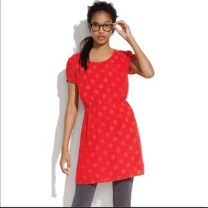 Madewell Red Textured Polka Dot Silky Dress
