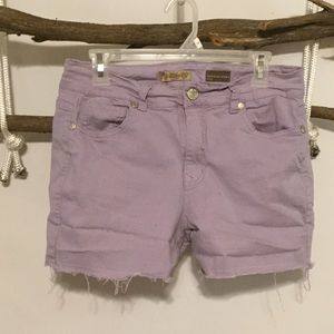 Pants - Casual Summer Purple CutOff Shorts