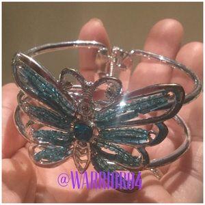 Jewelry - Blue Butterfly Hinged Bracelet