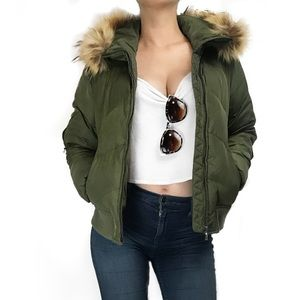 Marc New York down puffer jacket with fur hood