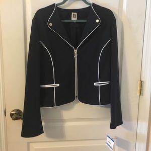Anne Klein Jacket Blue w/white Trim NWT Size XL