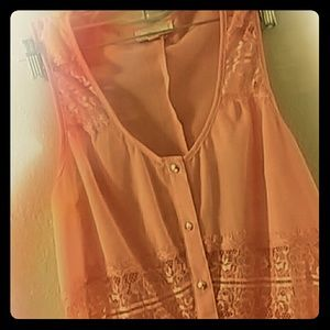 Pearl Izumi Tops - Vintage peach lace cut out button up blouse