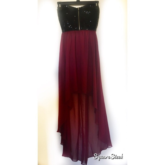 0a2458dbfb Windsor- Black Sequin and Maroon High-Low Dress. M 58e7b77713302a3d40009528