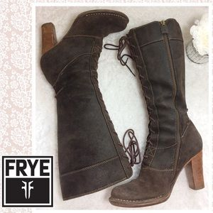 Awesome tall lace-up Frye Villager festival boots