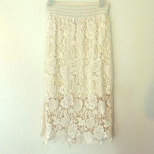 bobeau Dresses & Skirts - Bobeau Crochet Lace Skirt