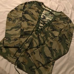 Camouflage lace up top NWOT size small