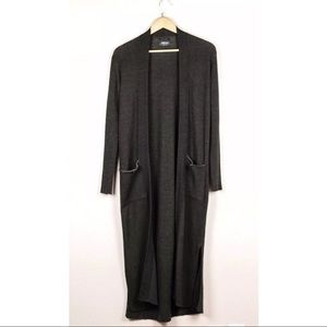 Zara Knit Grey Green Open Front Long Cardigan