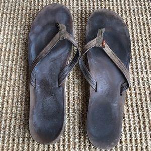 Rainbow Shoes - Rainbow sandals flip flops brown size 10