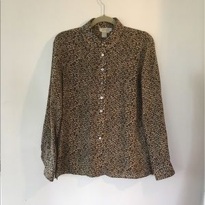 Vintage Lord & Taylor silk leopard print blouse