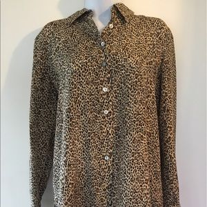 c8d8724398e5 Lord & Taylor Tops   Vintage Lord Taylor Silk Leopard Print Blouse ...
