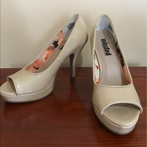 Unlisted Nude Patent Peep Toe Pump Size 6