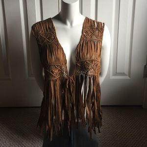 Chico's Other - NWT Chico's suede fringe vest- size 1