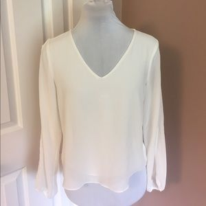 Tobi Tops - Ivory Silky Top with Peek-A-Boo sleeves