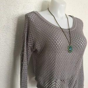 👽grey crochet fishnet sweater open-knit pullover