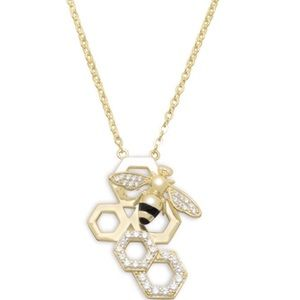 Jewelry - 14 Karat Gold Plated and Signity CZ Bee Necklace