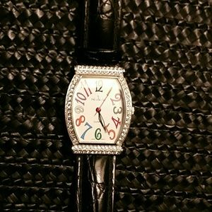 Peugeot Accessories - FAB PEUGEOT WATCH~RHINESTONES,LEATHER BAND