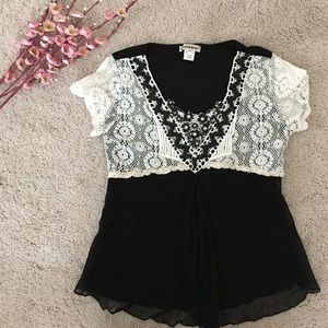 Tops - Lace and bead embroidery chiffon blouse