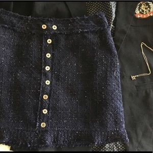 Tobi Dresses & Skirts - Tobi Sparkling Navy Blue Mini Skirt w Faux Buttons