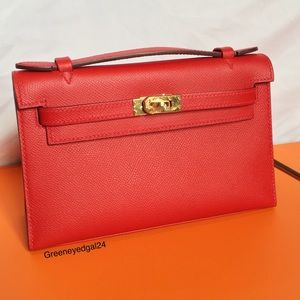 Hermes Handbags - Hermes Mini Kelly Pochette Epsom Rouge Casaque RED