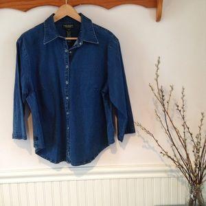 Lauren Ralph Lauren Tops - Ralph Lauren denim 3/4 sleeve blouse w/snaps