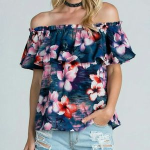 Tops - Tropical Floral Off The Shoulder Top