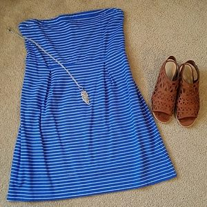 Old Navy blue white striped halter dress