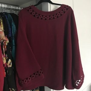 Simply Be Tops - Burgundy Cut out top